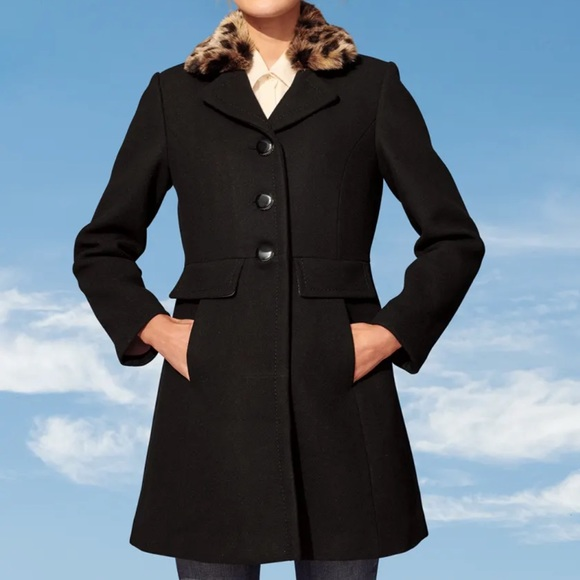 Kate Spade Black Peacoat with Faux Leopard Collar